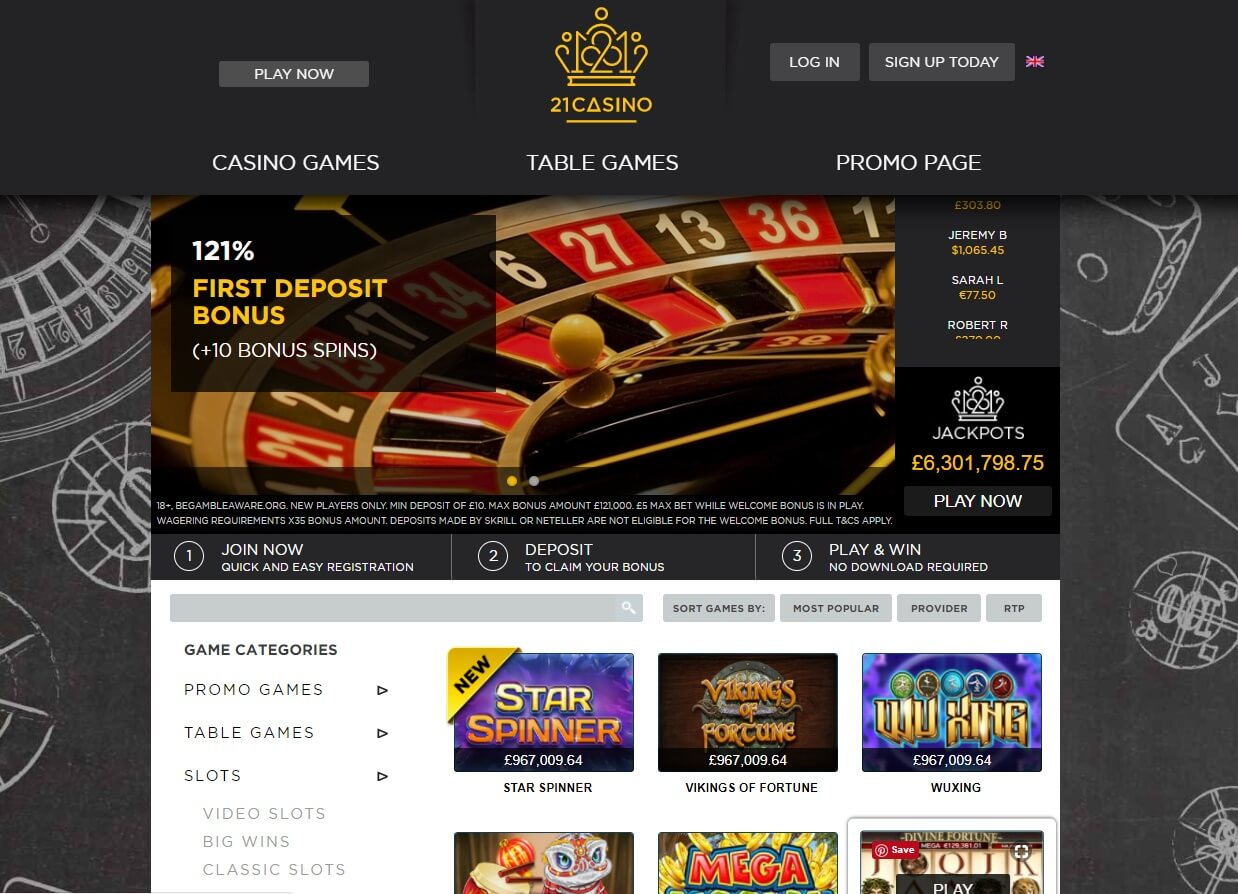 21 casino games and slots