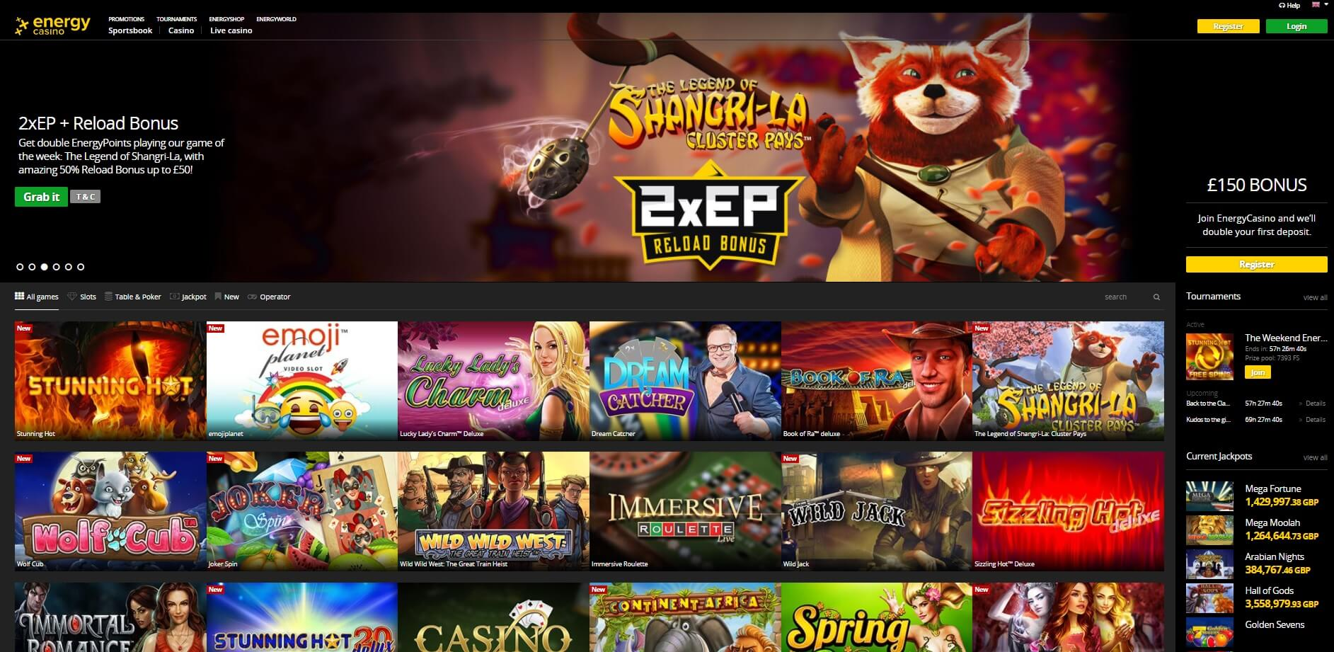 energy casino games and slot