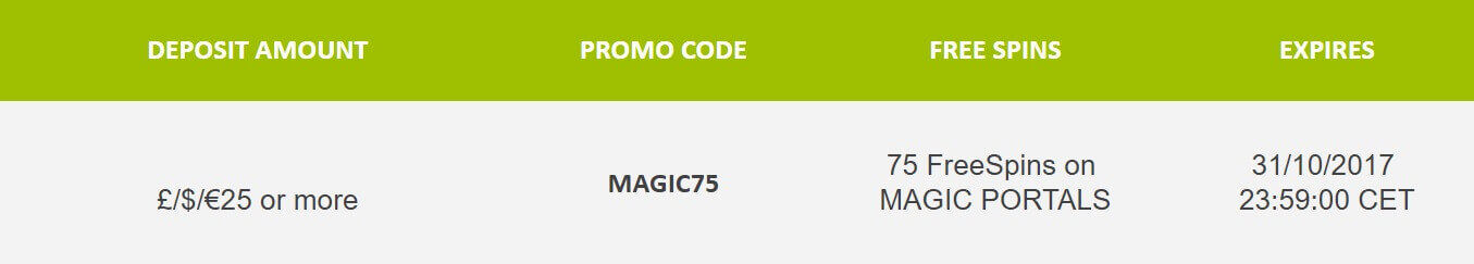free spins on magic portals slot bonu codes