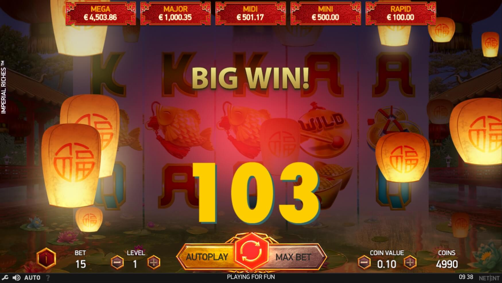 imperial riches slot screen shot big win